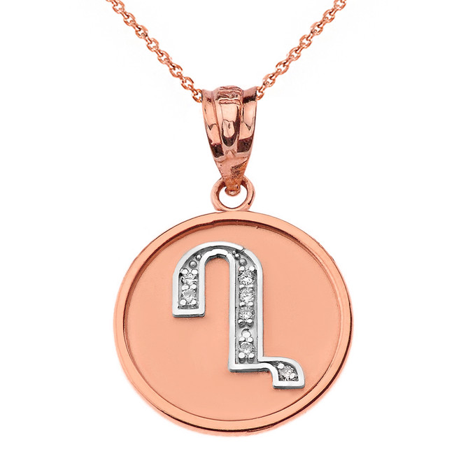 """Solid Two Tone Rose Gold Armenian Alphabet Diamond Disc Initial """"Gh"""" Pendant Necklace"""