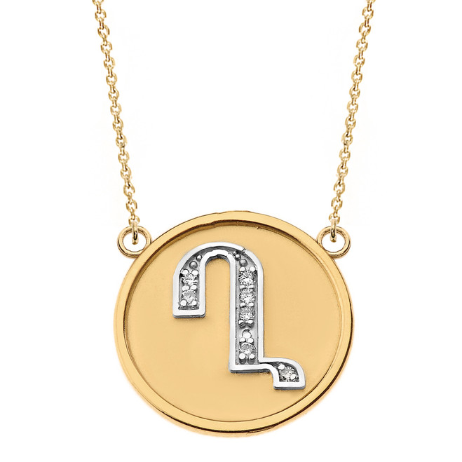 """14K Solid Two Tone Yellow Gold Armenian Alphabet Diamond Disc Initial """"Gh"""" Necklace"""