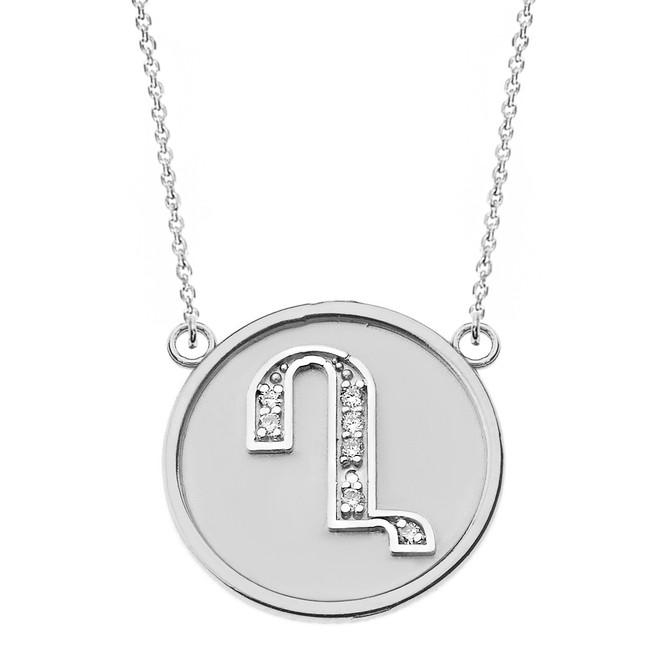 "14K Solid White Gold Armenian Alphabet Diamond Disc Initial ""Gh"" Necklace"