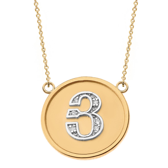 """14K Solid Two Tone Yellow Gold Armenian Alphabet Diamond Disc Initial """"Y"""" Necklace"""
