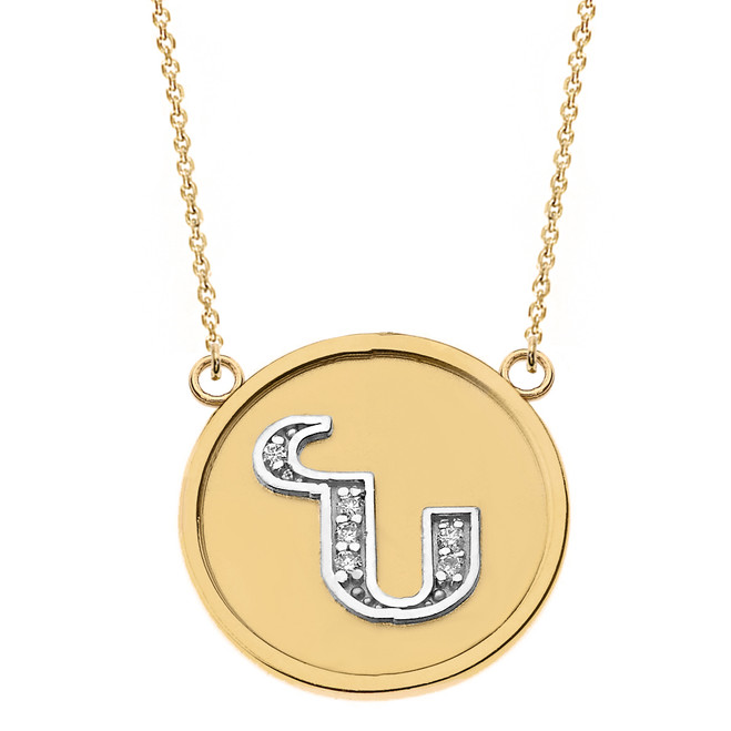 """14K Solid Two Tone Yellow Gold Armenian Alphabet Diamond Disc Initial """"N"""" Necklace"""