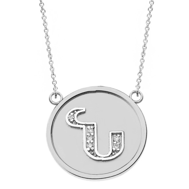 """14K Solid White Gold Armenian Alphabet Diamond Disc Initial """"N"""" Necklace"""