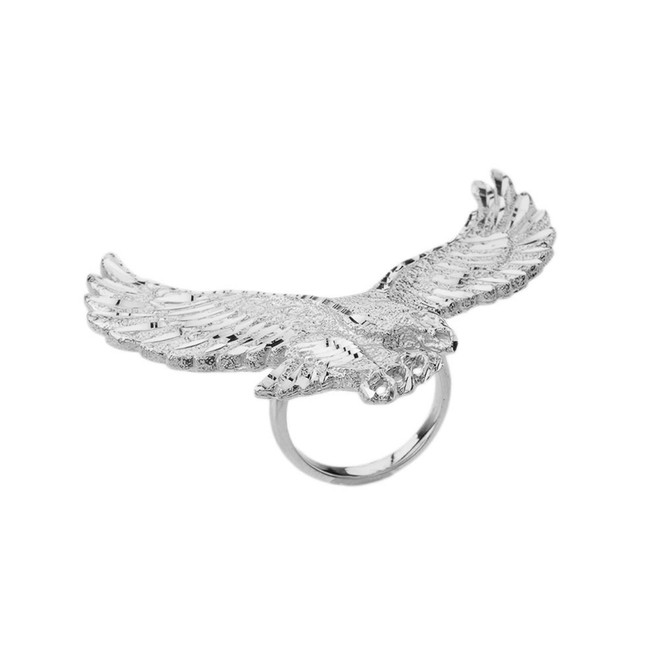 Soaring Eagle Statement Ring in White Gold
