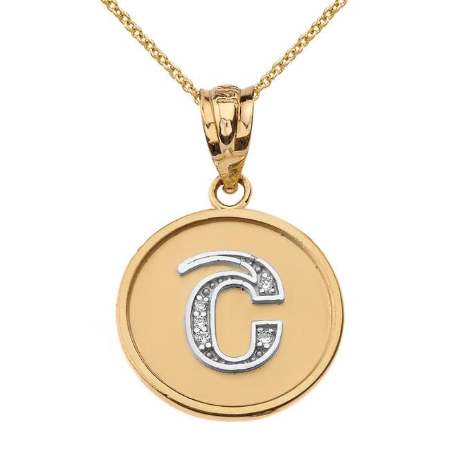 "Solid Two Tone Yellow Gold Armenian Alphabet Diamond Disc Initial ""Sh"" Pendant Necklace"
