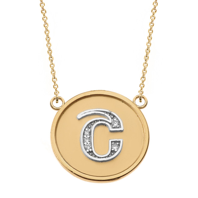 """14K Solid Two Tone Yellow Gold Armenian Alphabet Diamond Disc Initial """"Sh"""" Necklace"""