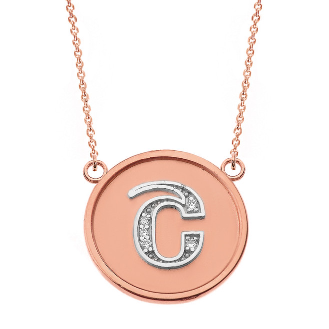 """14K Solid Two Tone Rose Gold Armenian Alphabet Diamond Disc Initial """"Sh"""" Necklace"""