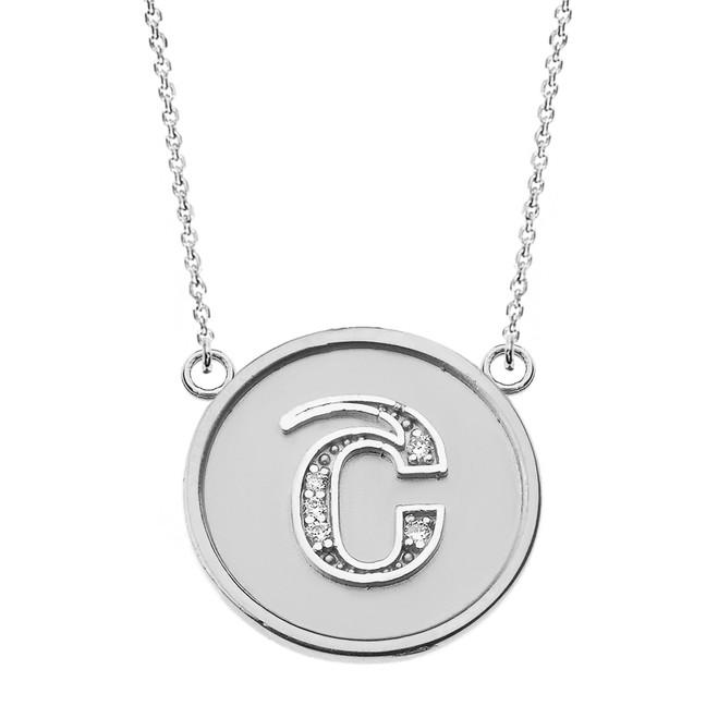 "14K Solid White Gold Armenian Alphabet Diamond Disc Initial ""Sh"" Necklace"