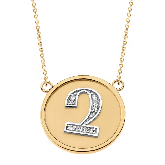 "14K Solid Two Tone Yellow Gold Armenian Alphabet Diamond Disc Initial ""Chu"" Necklace"