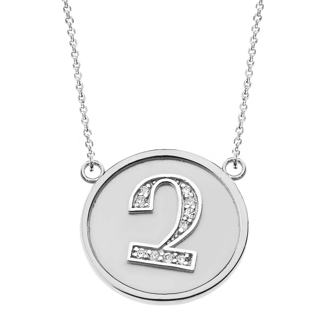 "14K Solid White Gold Armenian Alphabet Diamond Disc Initial ""Chu"" Necklace"