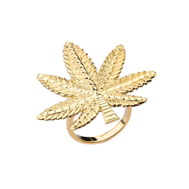 Marijuana Statement Ring in Yellow Gold
