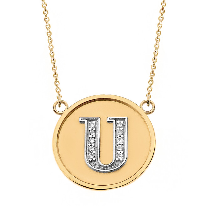 """14K Solid Two Tone Yellow Gold Armenian Alphabet Diamond Disc Initial """"S"""" Necklace"""