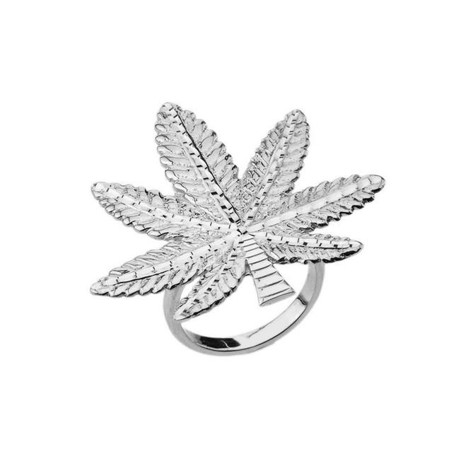 Marijuana Statement Ring in White Gold