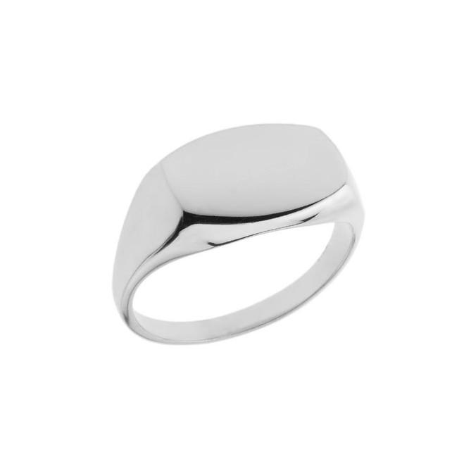 Comfort Fit Rectangular Signet Ring in White
