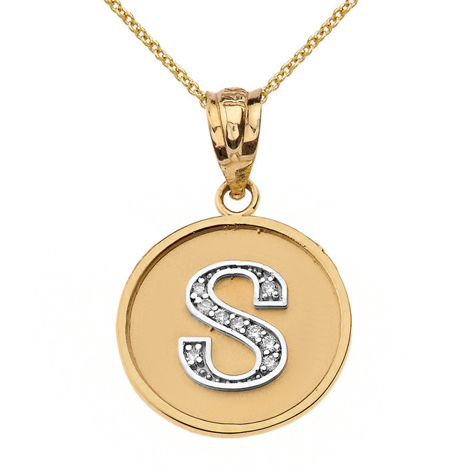 """Solid Two Tone Yellow Gold Armenian Alphabet Diamond Disc Initial """"T"""" or """"D"""" Pendant Necklace"""
