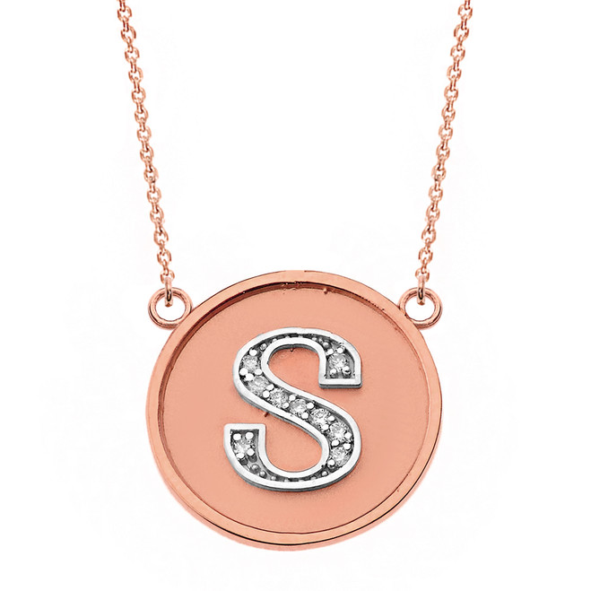 "14K Solid Two Tone Rose  Gold Armenian Alphabet Diamond Disc Initial ""T"" or ""D""  Necklace"