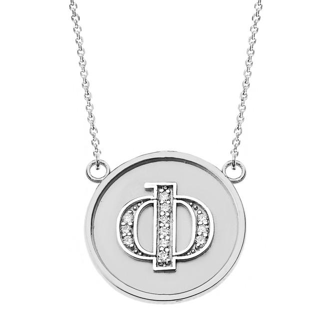 "14K Solid White Gold Armenian Alphabet Diamond Disc Initial ""F""  Necklace"