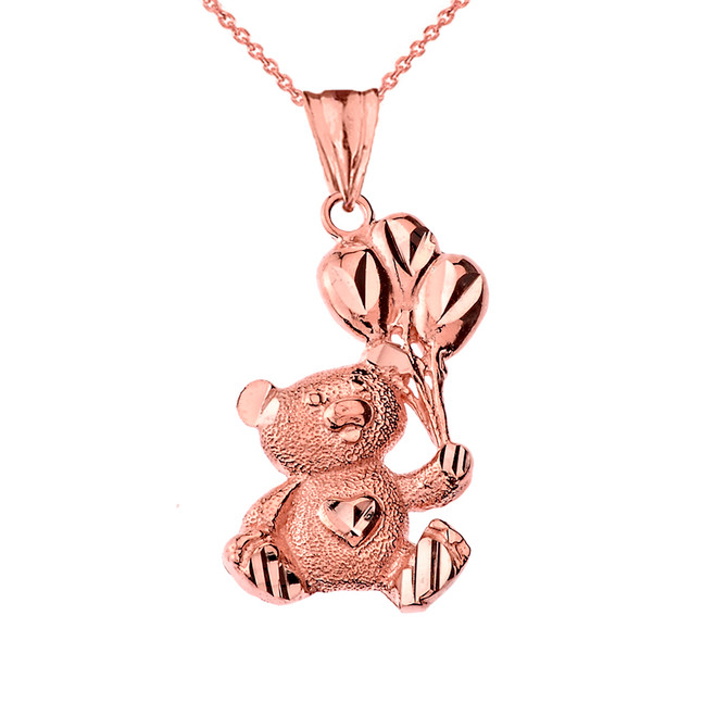 Teddy Bear with Ballon Pendant Necklace in Rose Gold