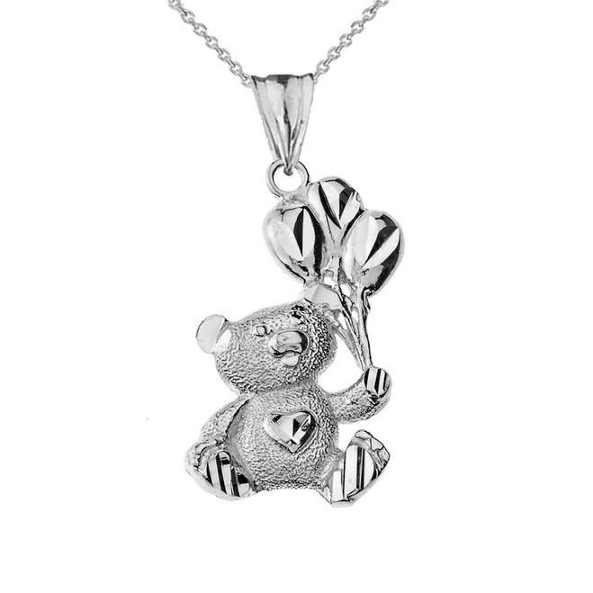 Teddy Bear with Ballon Pendant Necklace in White Gold