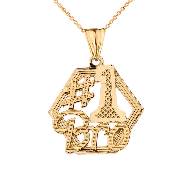 #1 Best Brother Pendant Necklace in Yellow Gold
