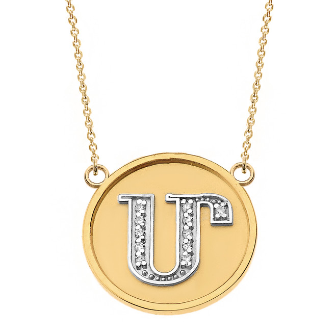 "14K Solid Two Tone Yellow Gold Armenian Alphabet Diamond Disc Initial ""M""  Necklace"