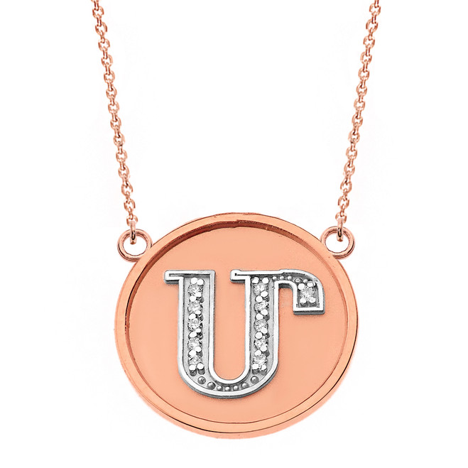 "14K Solid Two Tone Rose Gold Armenian Alphabet Diamond Disc Initial ""M""  Necklace"