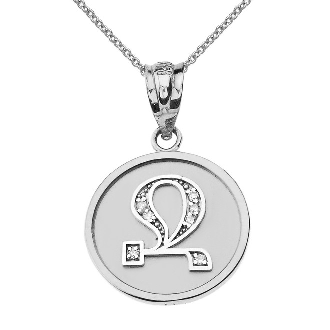 "Solid White Gold Armenian Alphabet Diamond Disc Initial ""Jh"" Pendant Necklace"
