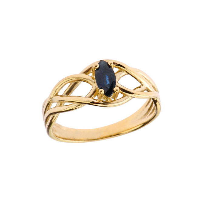 Celtic Knot Genuine Sapphire Ring in Yellow Gold