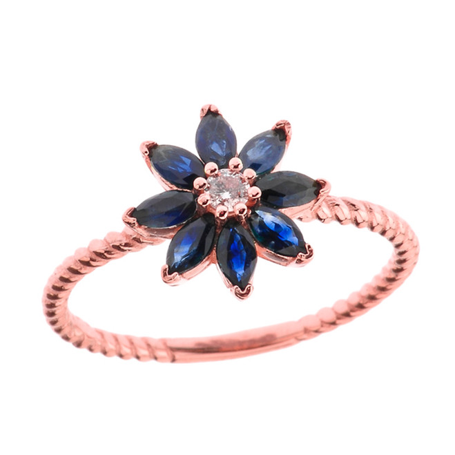 Genuine Sapphire  and Diamond Daisy Promise Rope Ring in Rose Gold