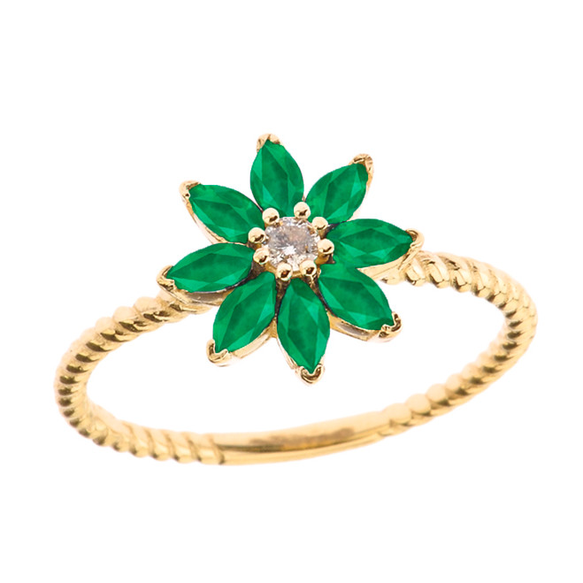 Emerald (LCE) and Diamond Daisy Promise Rope Ring in Yellow Gold