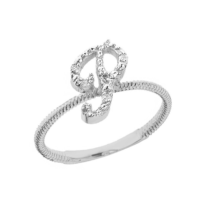 """Solid White Gold Script Initial """"P"""" Stackable Diamond Ring"""