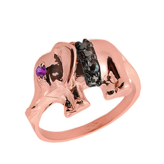10k Rose Gold Black Onyx and Red CZ Elephant Ring