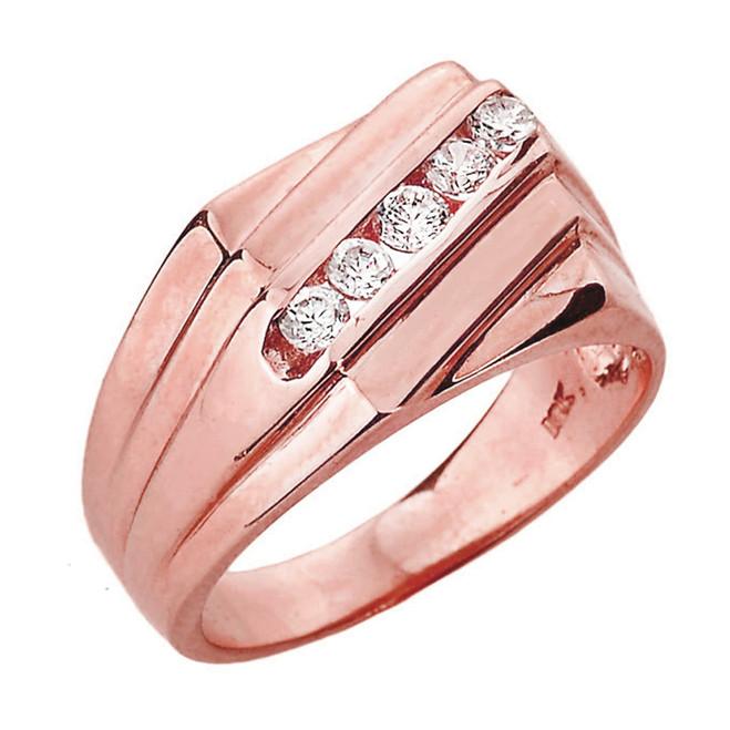Rose Gold Channel Set Diamond Men's Ring