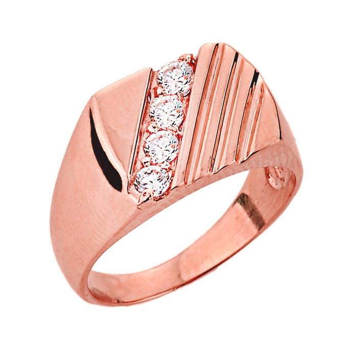 Channel Set Diamond Men's Ring in Rose Gold
