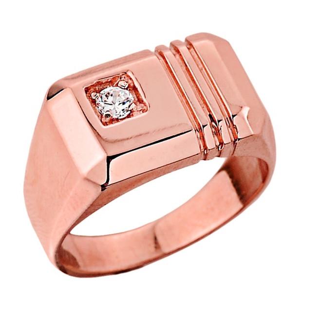 Rose Gold Men's Diamond Ring