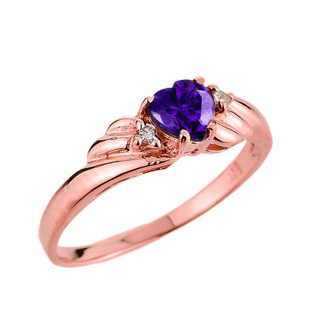 Rose Gold Amethyst Gemstone Ladies Ring