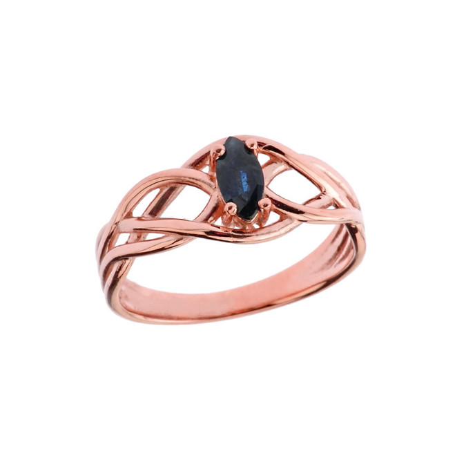 Celtic Knot Genuine Sapphire Ring in Rose Gold