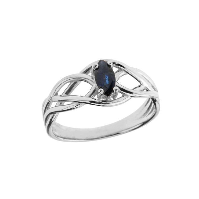 Celtic Knot Genuine Sapphire Ring in White Gold