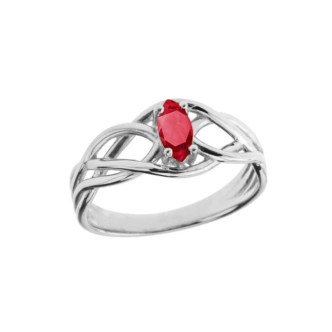 Celtic Knot Genuine Ruby Ring in White Gold