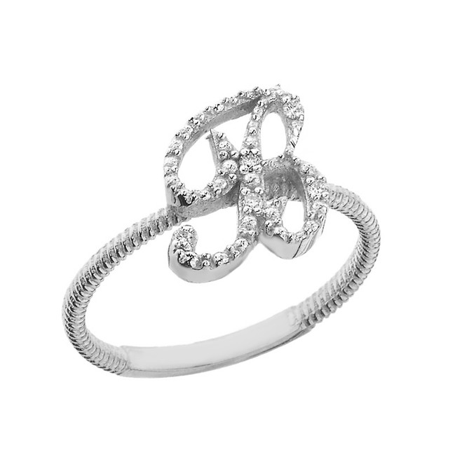 """Solid White Gold Script Initial """"B"""" Stackable Diamond Ring"""