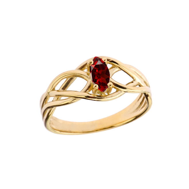 Celtic Knot Lab Created Garnet Ring in Yellow Gold