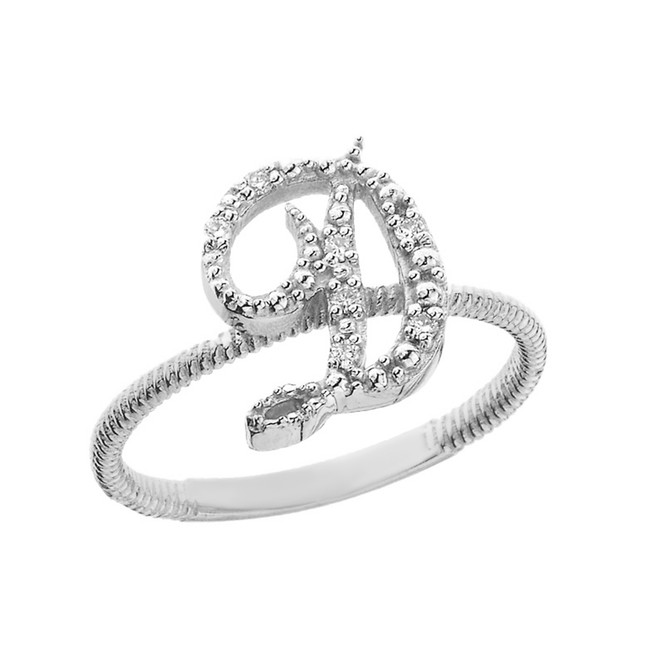 """Solid White Gold Script Initial """"D"""" Stackable Diamond Ring"""