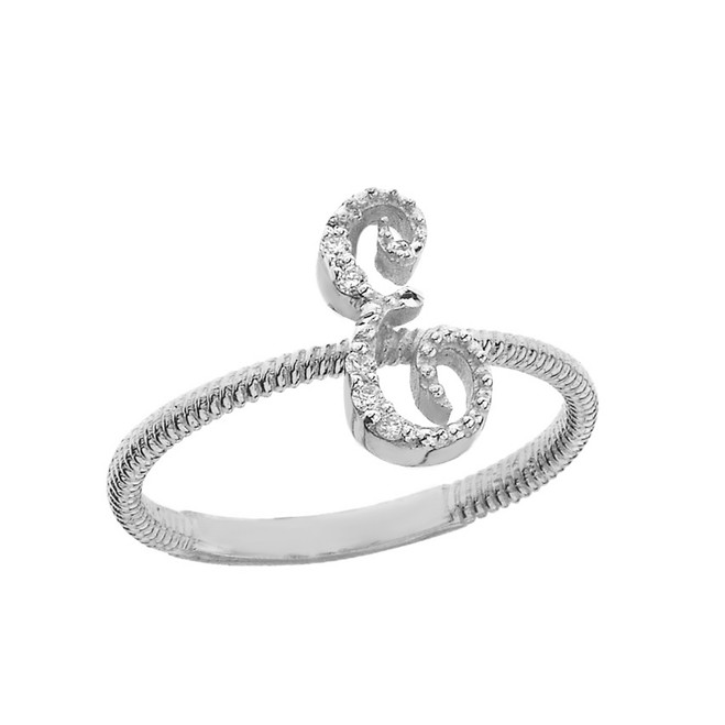 """Solid White Gold Script Initial """"E"""" Stackable Diamond Ring"""