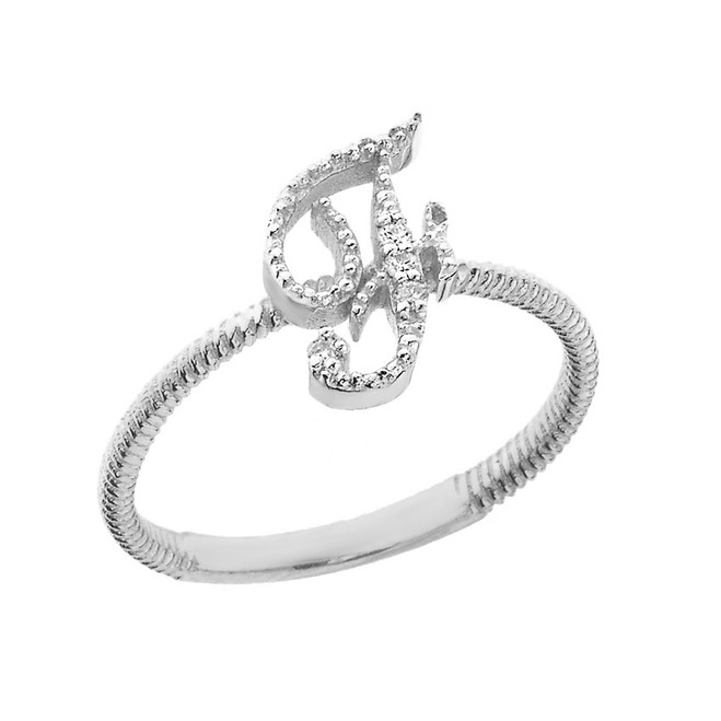 """Solid White Gold Script Initial """"F"""" Stackable Diamond Ring"""
