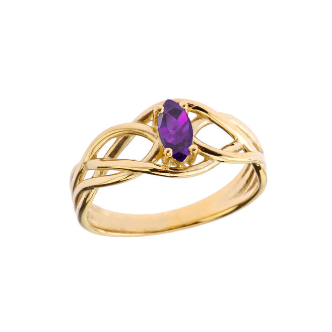 Celtic Knot Lab Created Amethyst Ring in Yellow Gold