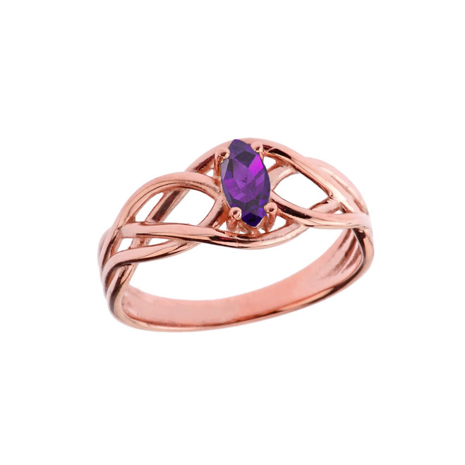 Celtic Knot Lab Created Amethyst Ring in Rose Gold