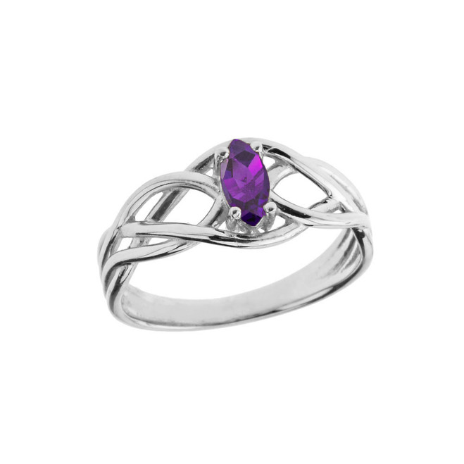 Celtic Knot Lab Created Amethyst Ring in Sterling Silver
