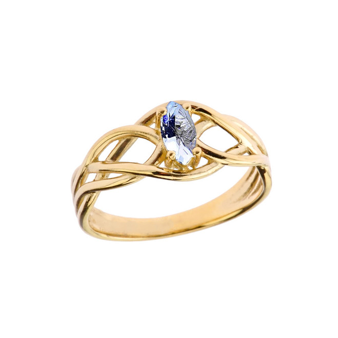 Celtic Knot Lab Created Aquamarine Ring in Yellow Gold
