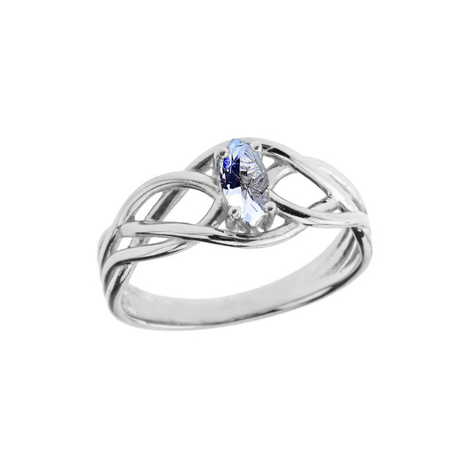 Celtic Knot Lab Created Aquamarine Ring in White Gold