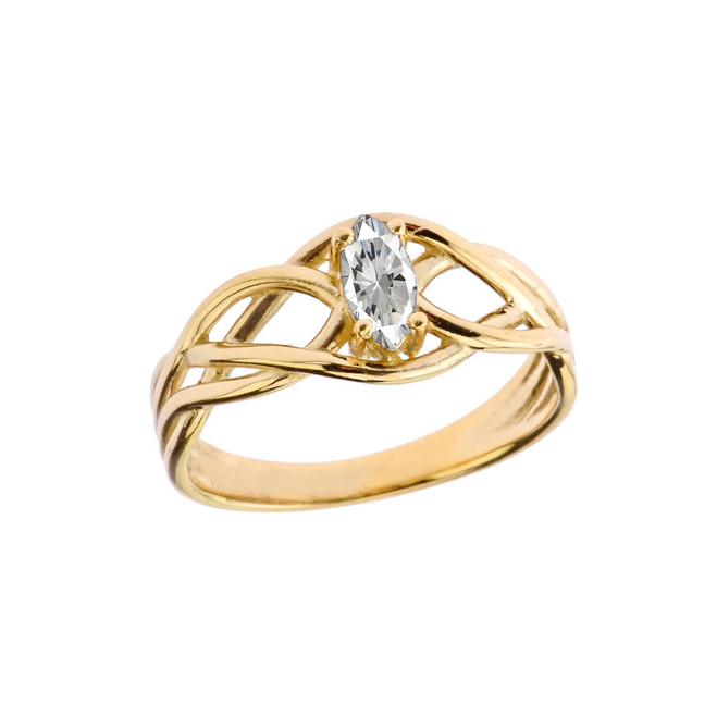 Celtic Knot Cubic Zirconia Ring in Yellow Gold