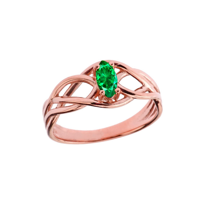 Celtic Knot Lab Created Emerald Ring in Rose Gold